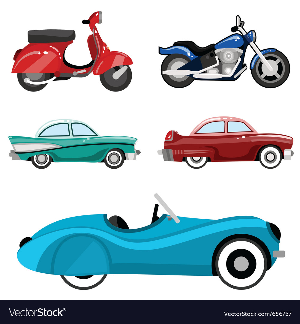 Classic cars and motorcycles vector