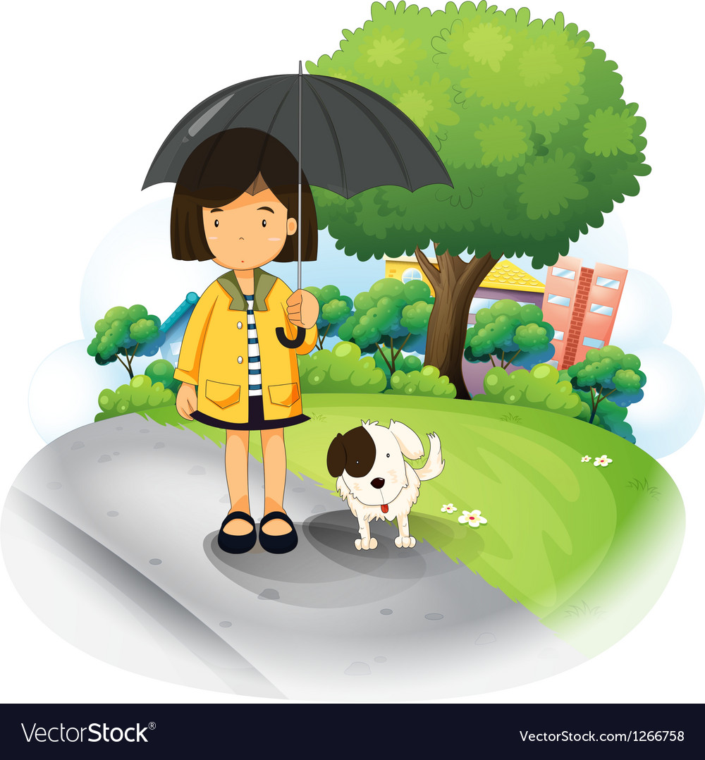 A girl with an umbrella and a puppy at the road vector
