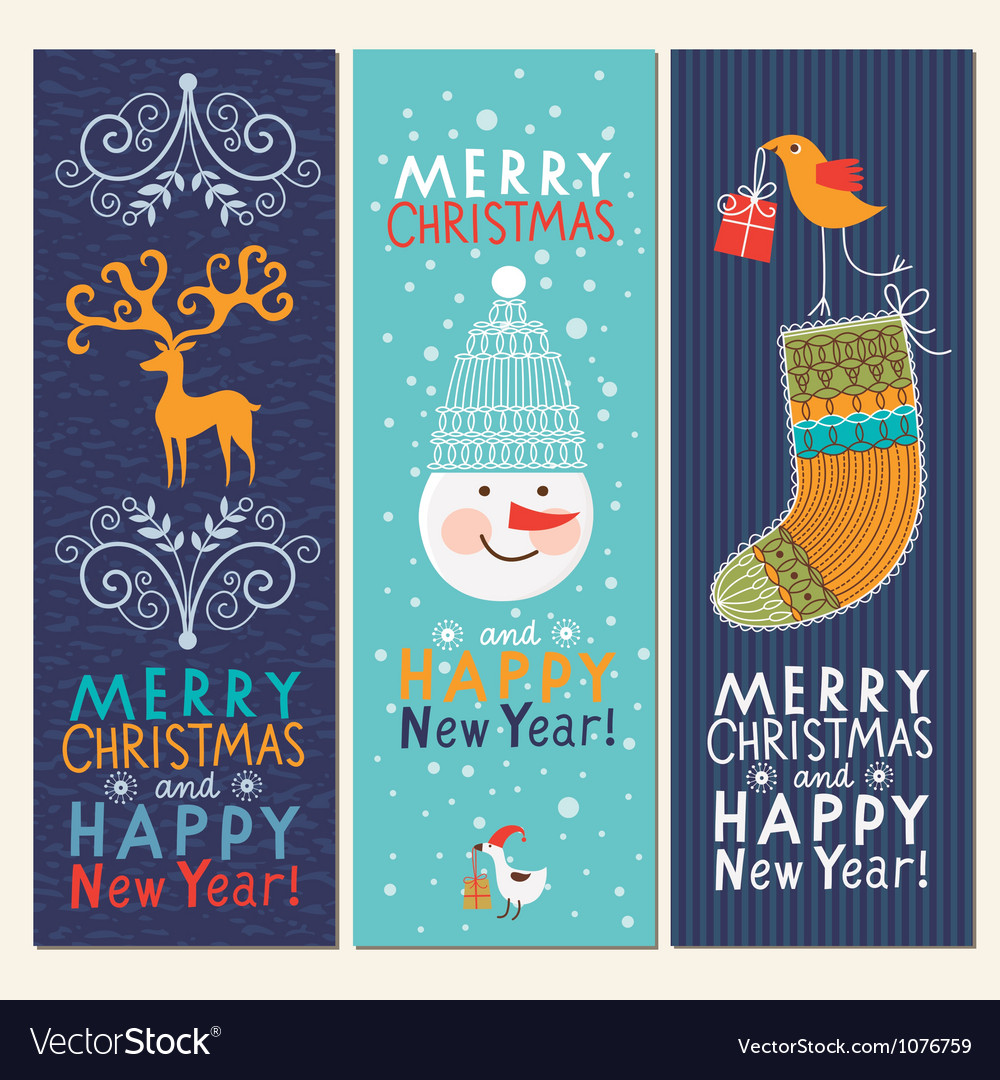 Set of christmas and new year banners vector