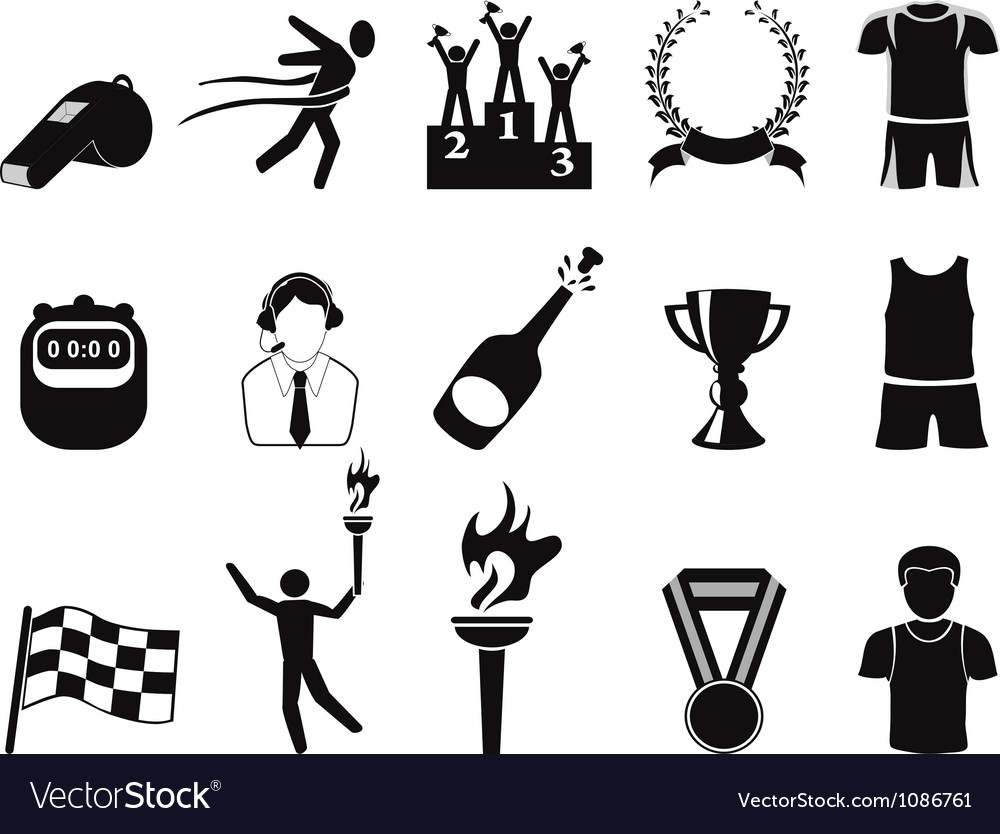 Black sports icons set vector