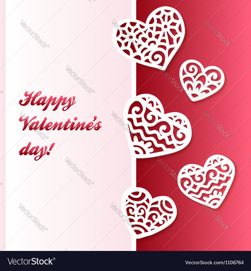 Cut out paper lacy hearts valentines card vector