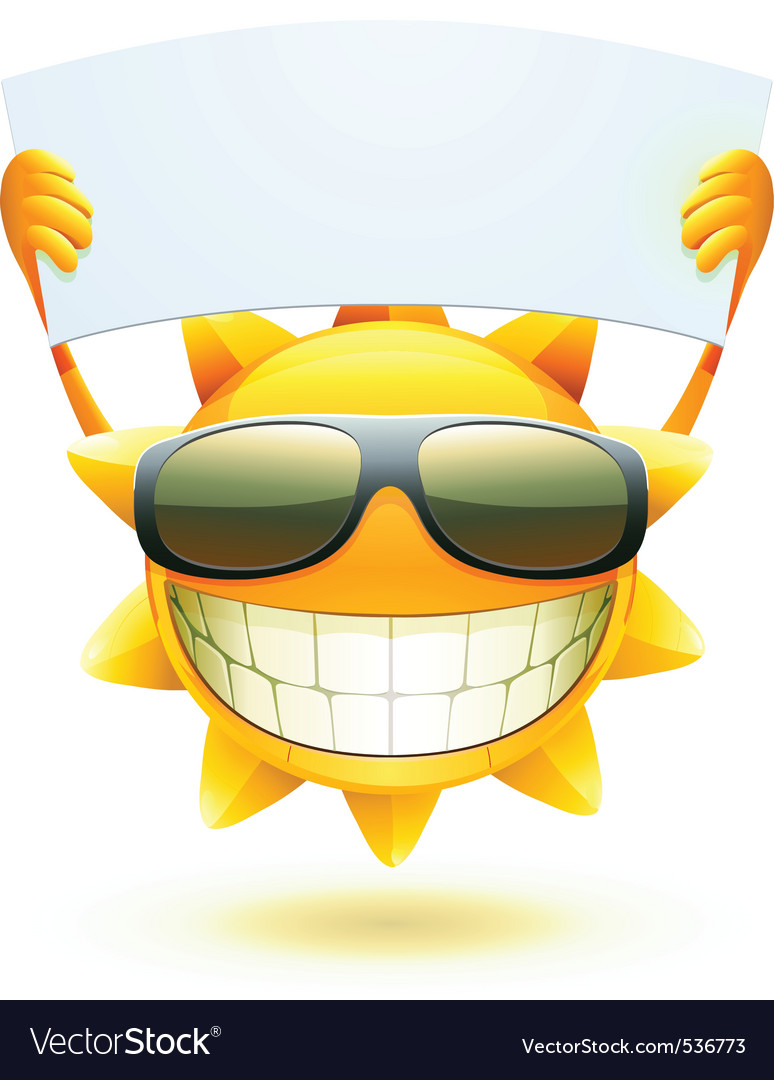 Cartoon sun character vector