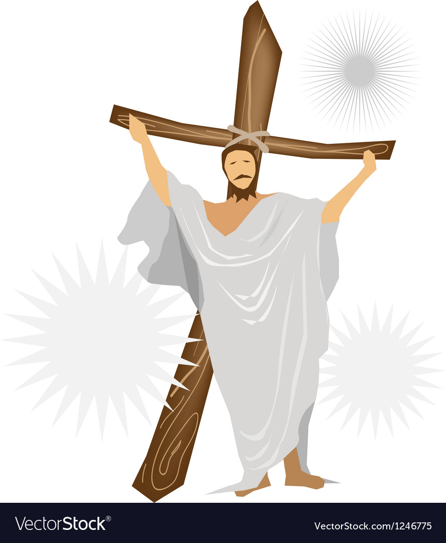 Jesus christ standing with a wooden cross vector