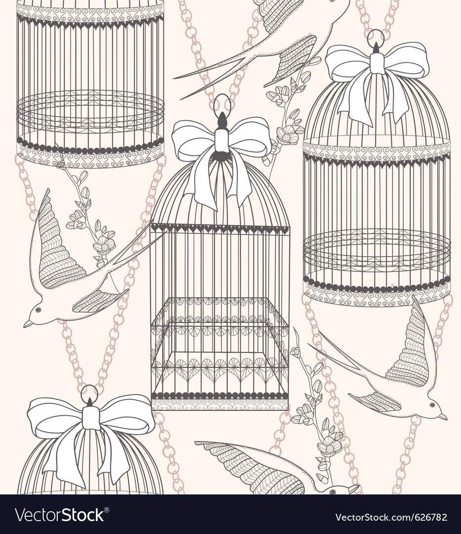 Birdcage flowers and birds vector