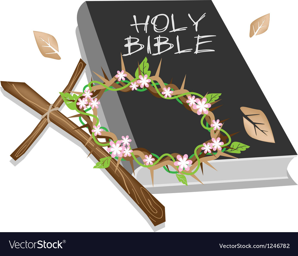 Holy bible with wooden cross and a crown of thorn vector