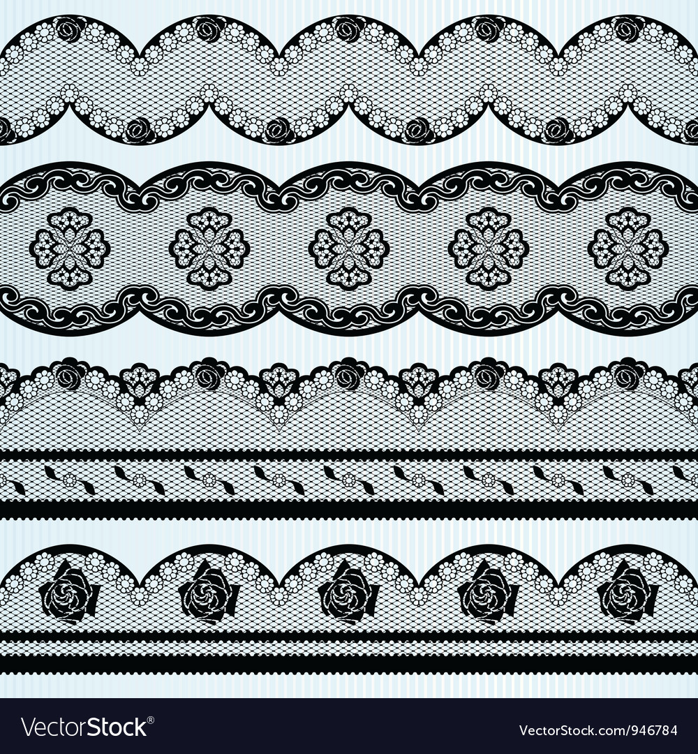 Set of black lace ribbons vector