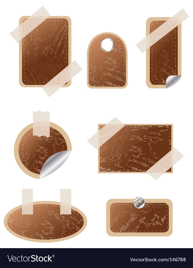 Set of wooden stickers vector
