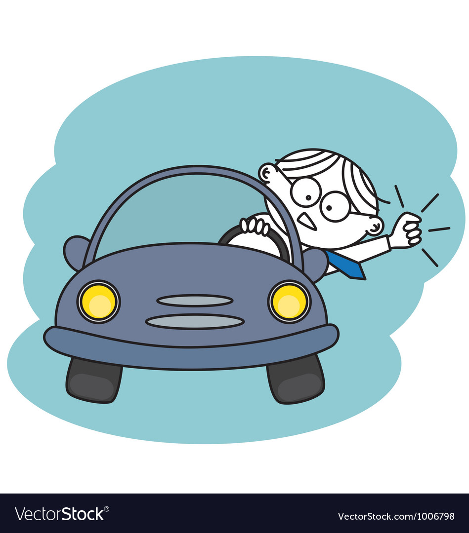 Angry man in his car vector