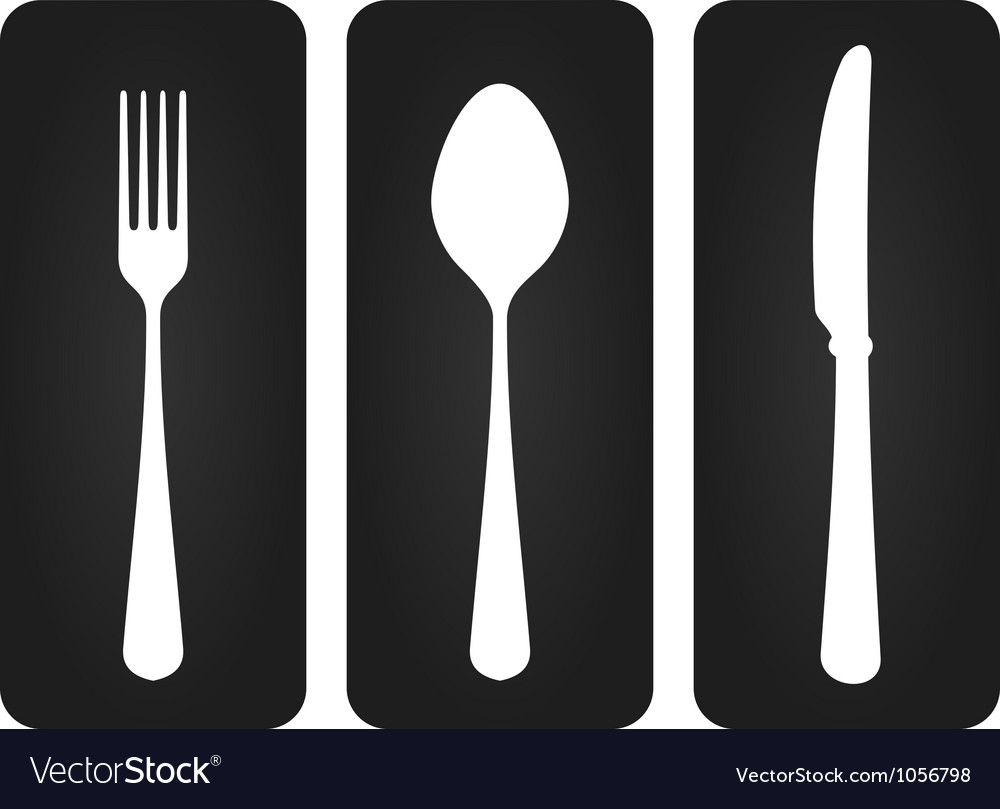 Cutlery set in black vector