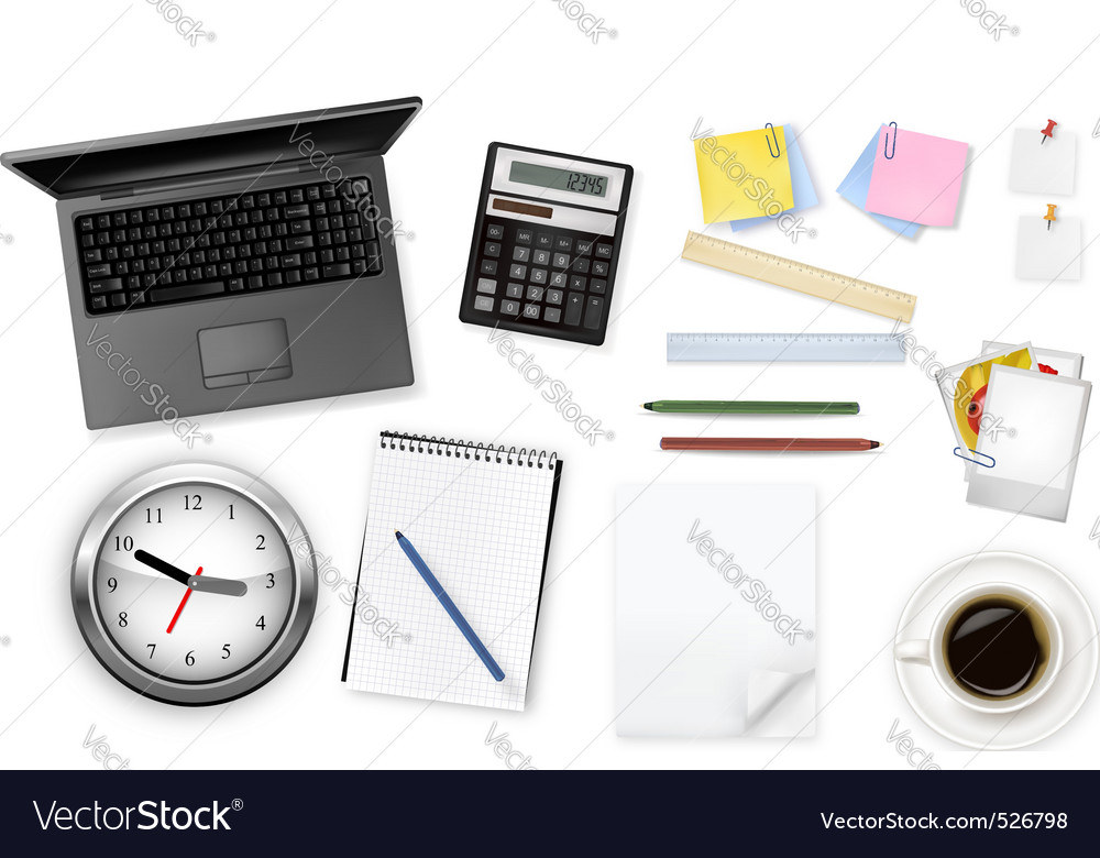 Grey notebook and group of office sumples vector