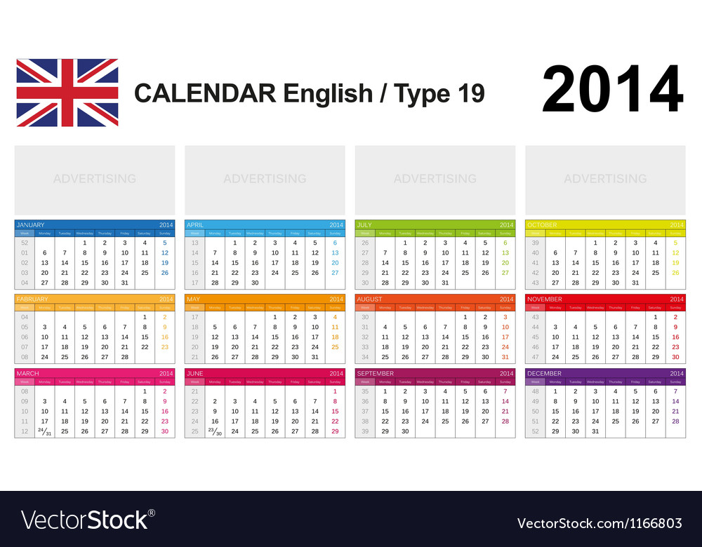 Calendar 2014 english type 19 vector