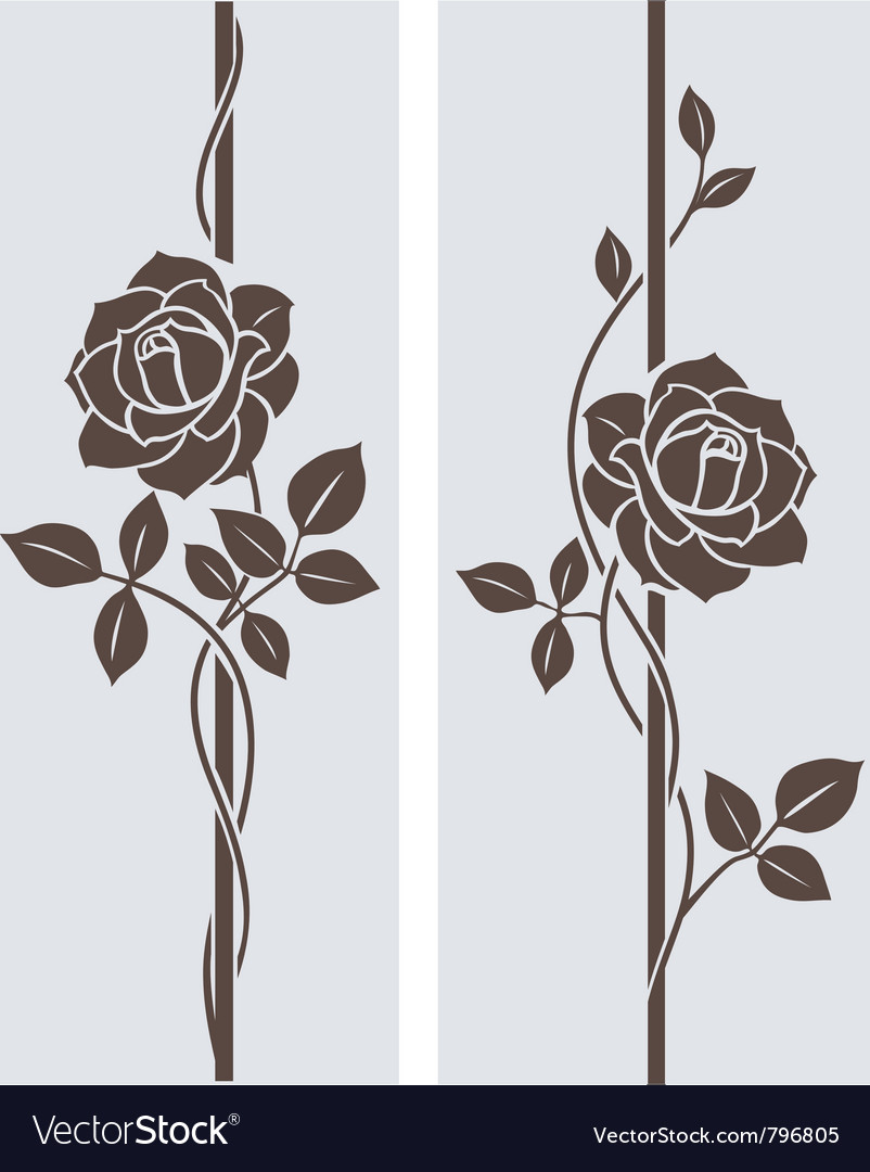 Decorative roses silhouette border with roses vector