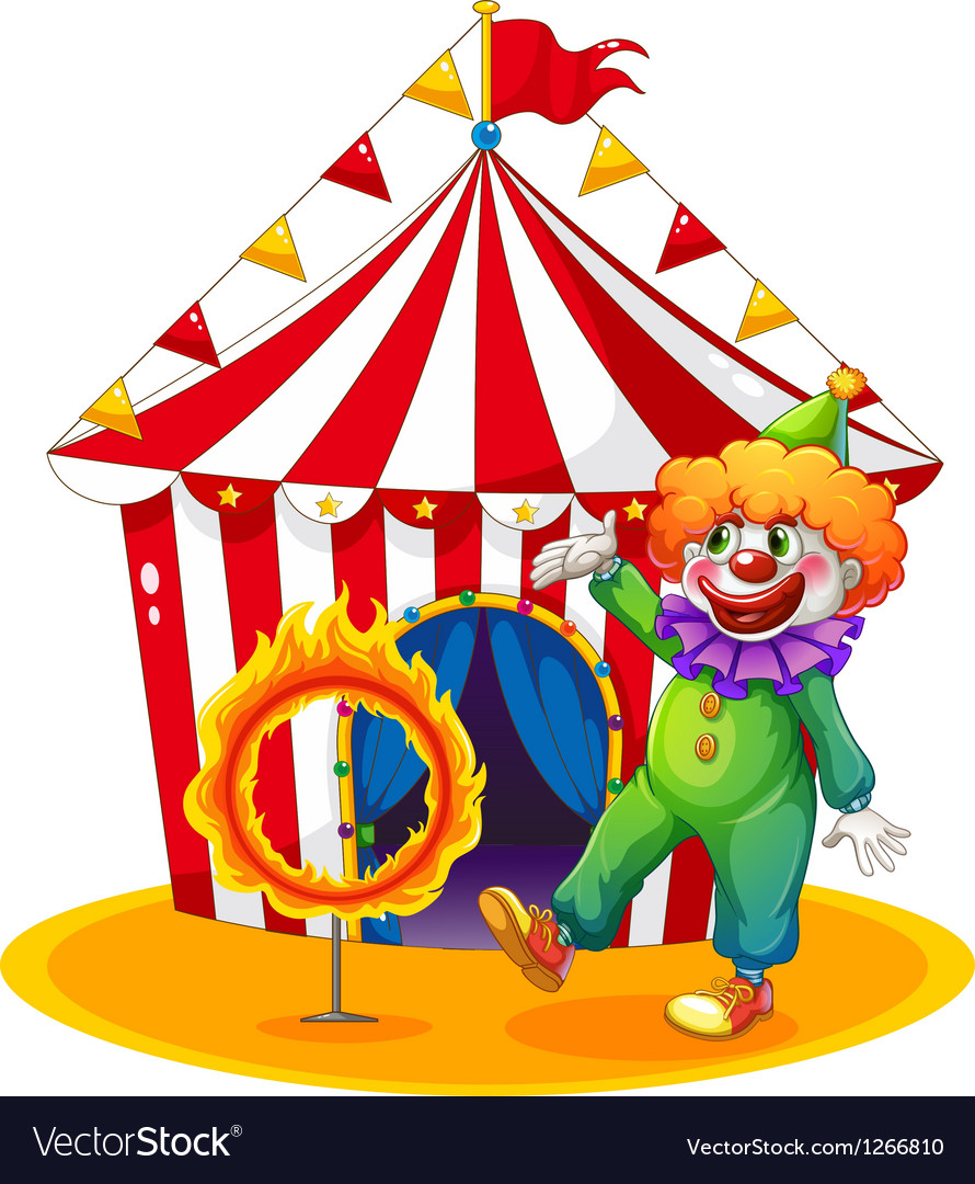 A tent at the back of the clown and the ring of vector