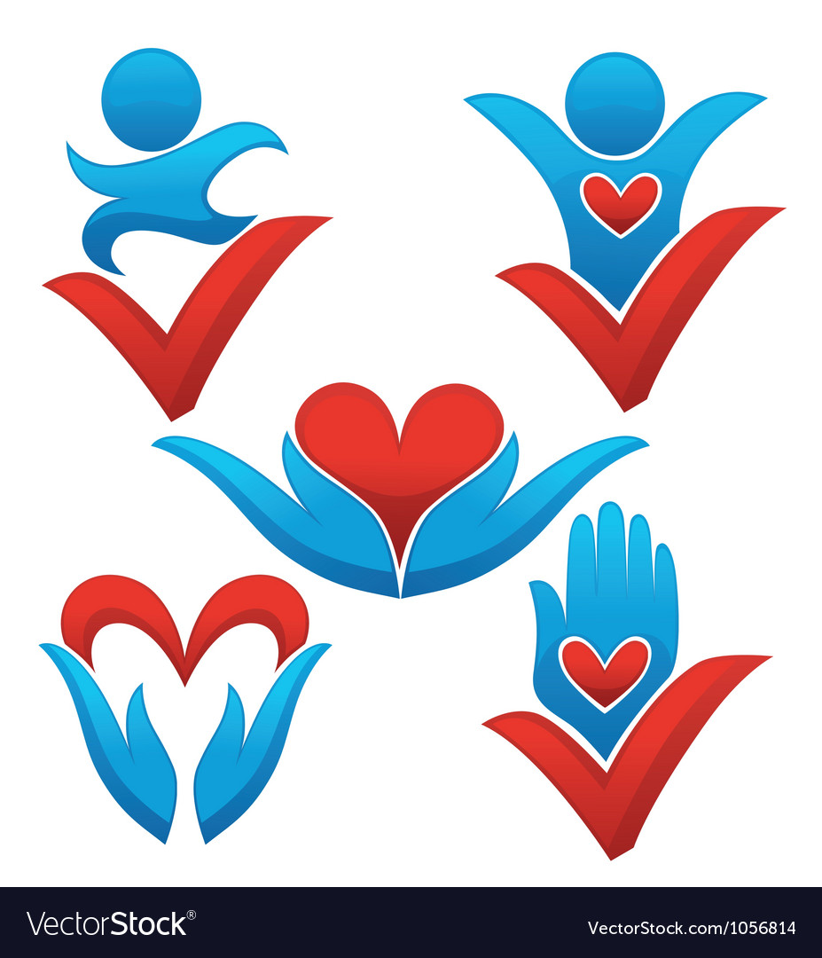 Love life and health signs symbols and concepts vector