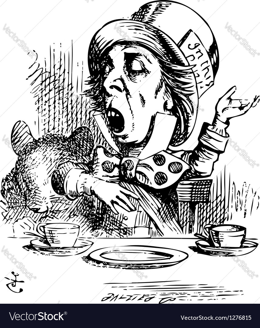 Hatter engaging in rhetoric alice in wonderland vector