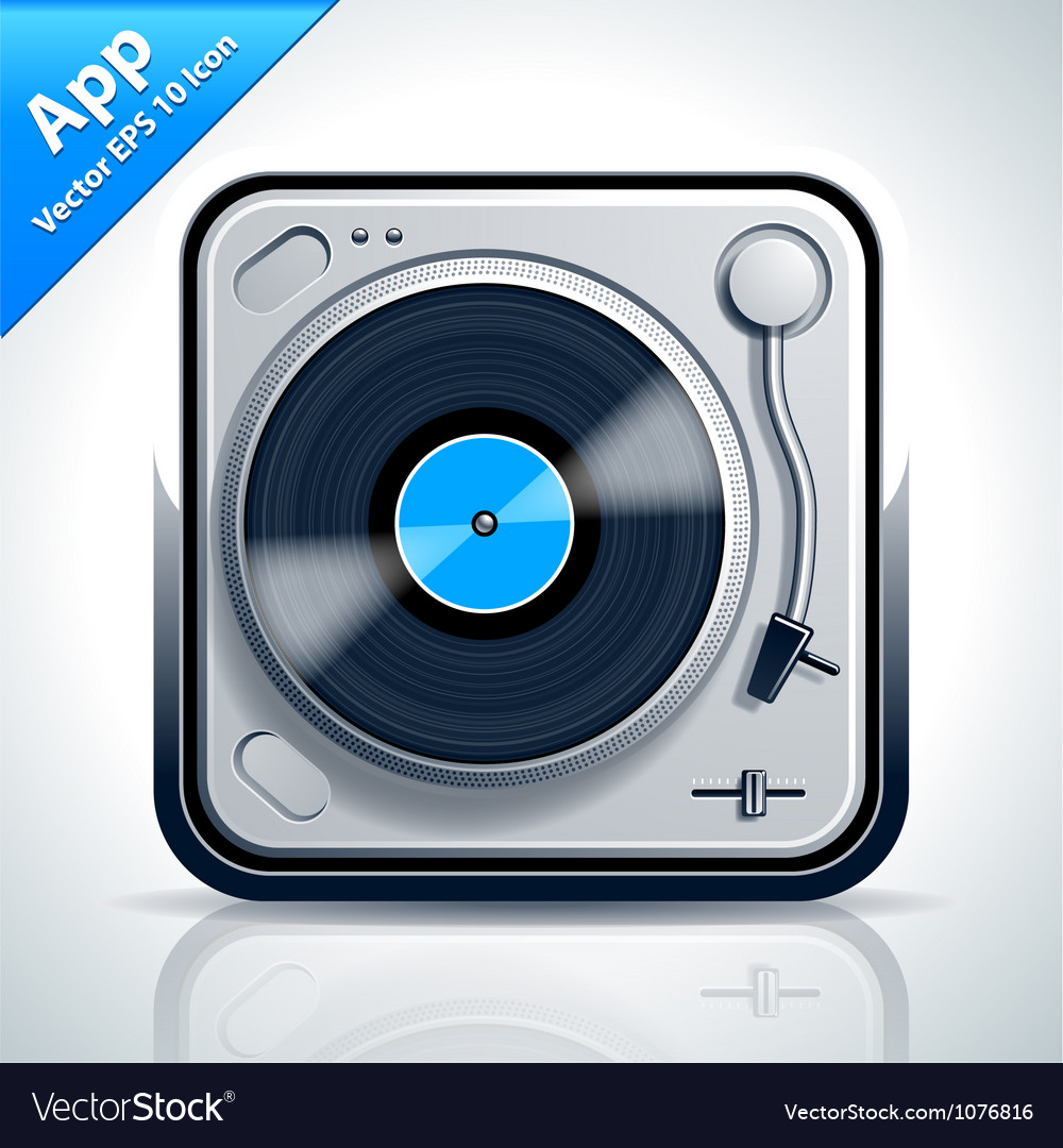 Turntable musical app icon vector