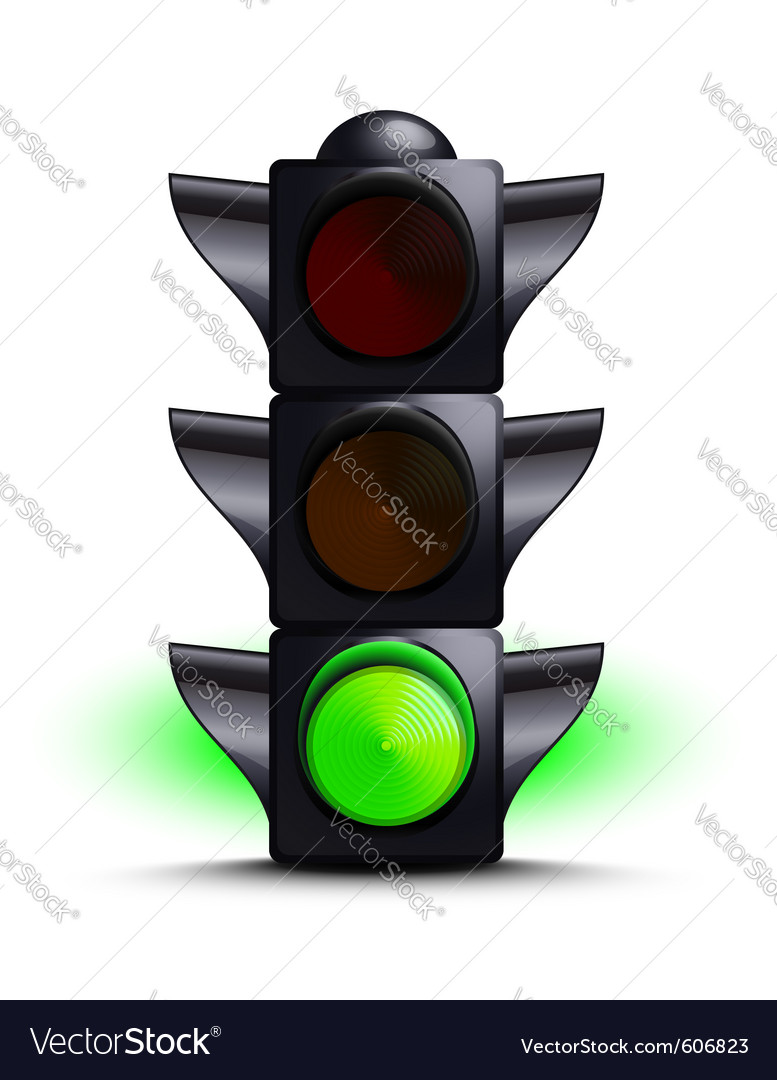 Traffic light on green vector