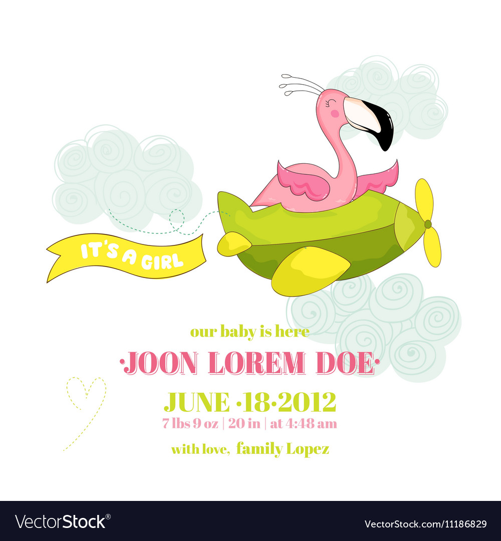 baby shower card baby flamingo girl on plane vector by woodhouse84, Baby shower invitations