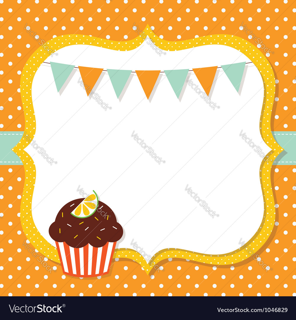 birthday card with a cupcake vector by lattesmile  image, Birthday card
