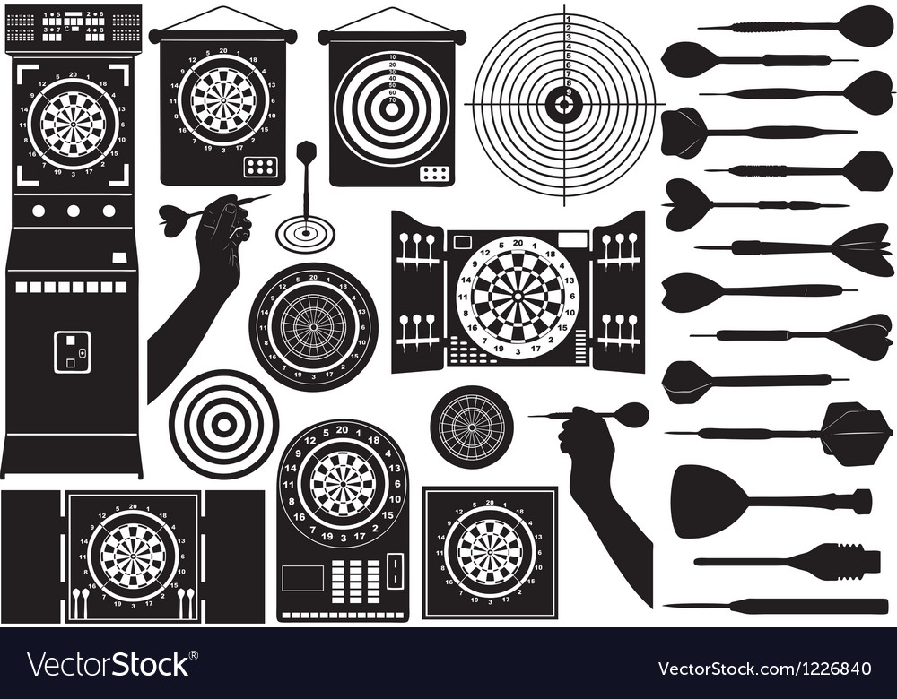 Set of different dartboards vector