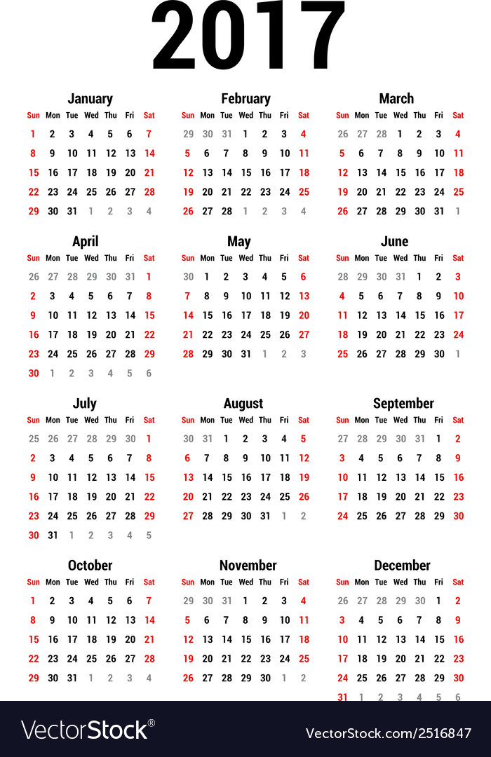 Calendar 2017 vector by 1507kot - Image #2516847 - VectorStock