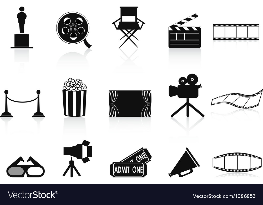 Black movies icons set vector