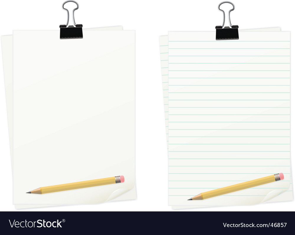 Clipped paper with pencil set vector