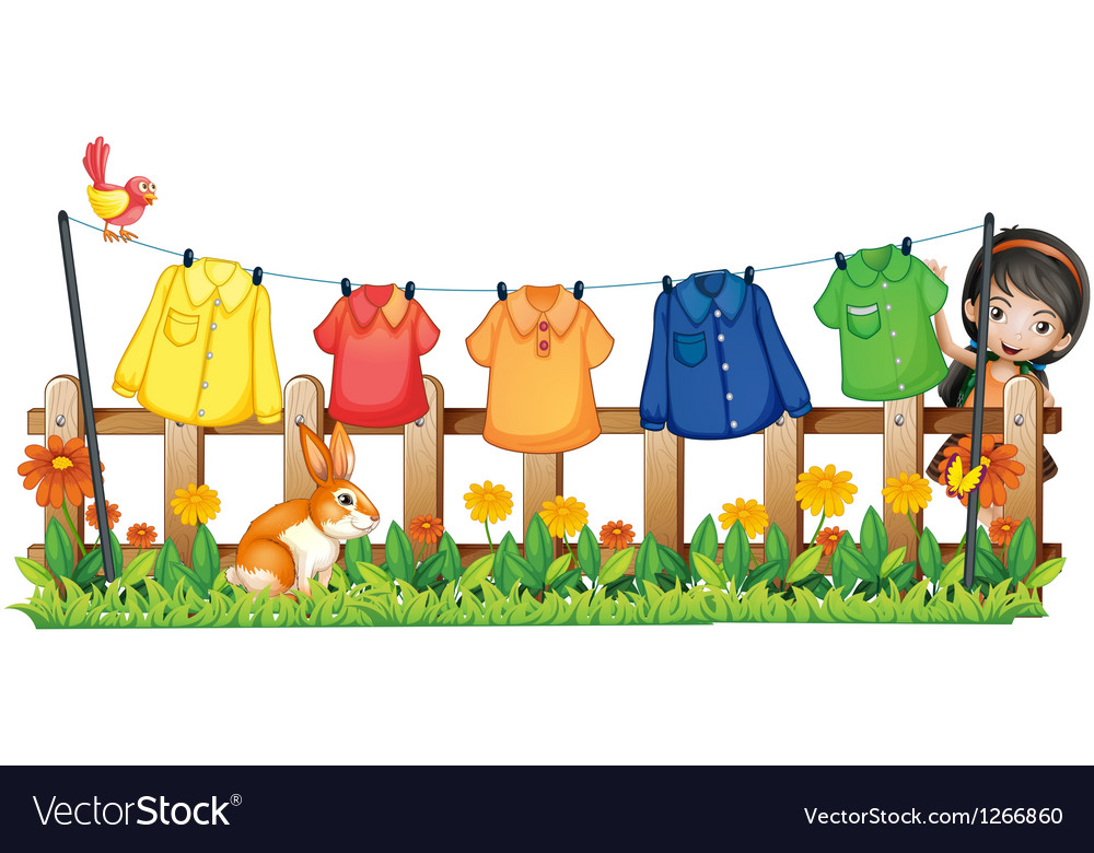 A lady hanging her clothes in the garden with a vector