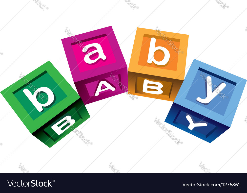 Wooden baby blocks vector