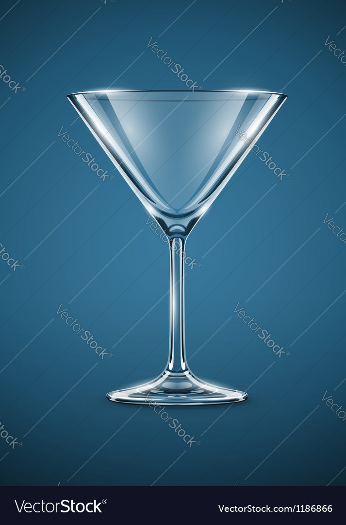 Glass goblet for martini vector