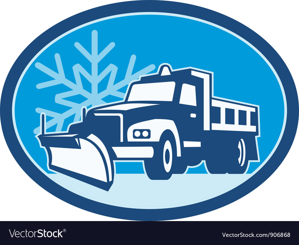 Snow plow truck retro vector