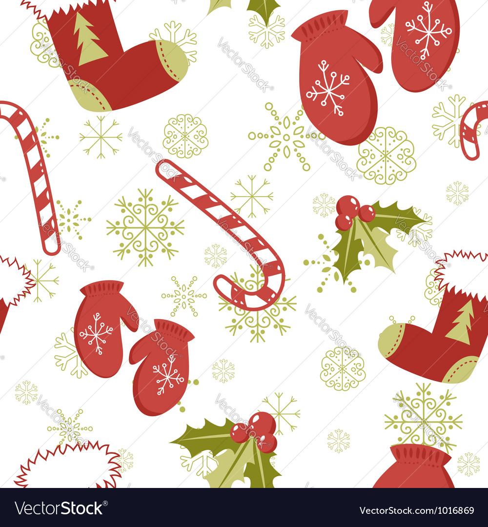 Seamless pattern with cute cartoon christmas mitte vector by Yuzach ...
