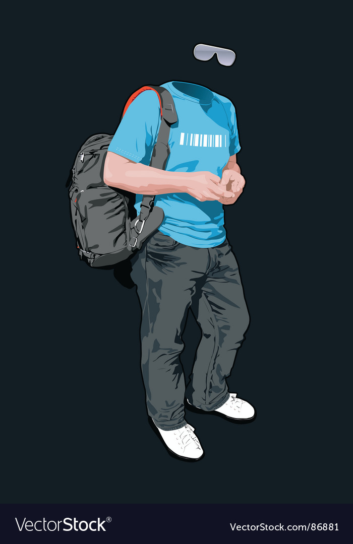 Young man with a backpack vector