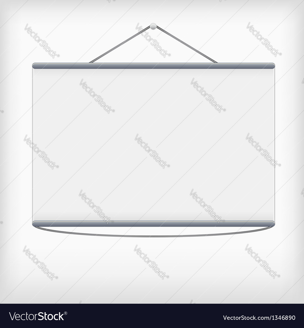 White projection screen hanging from wall vector
