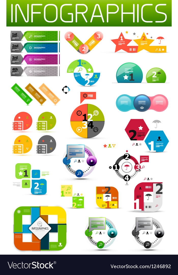 Set of colorful flat paper infographic design vector