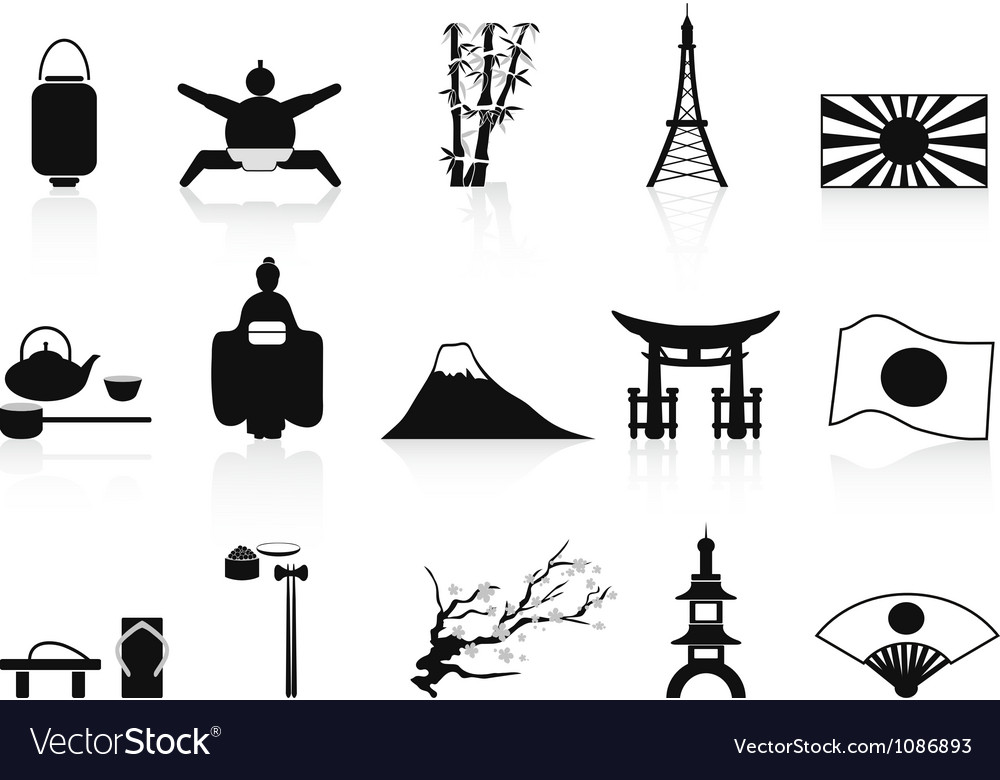 Black japanese icons set vector