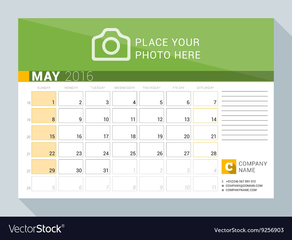 Calendar Planner For May : Calendar planner for year may print template vector
