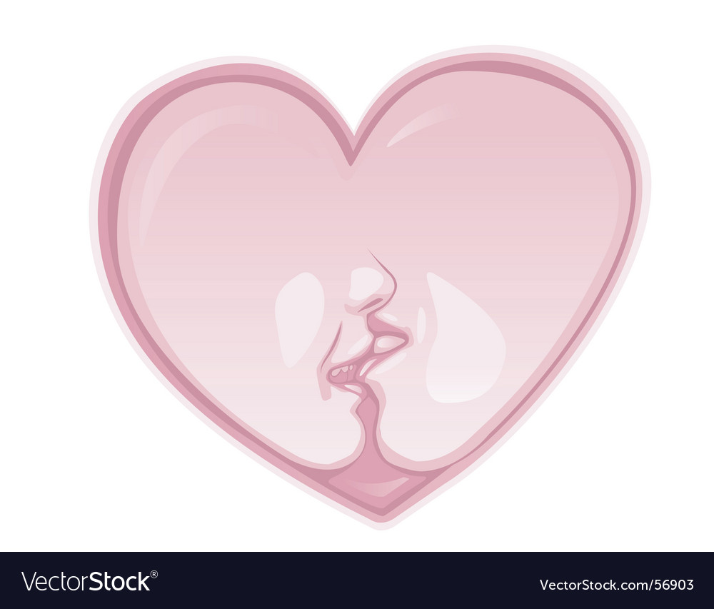 Heart kiss vector