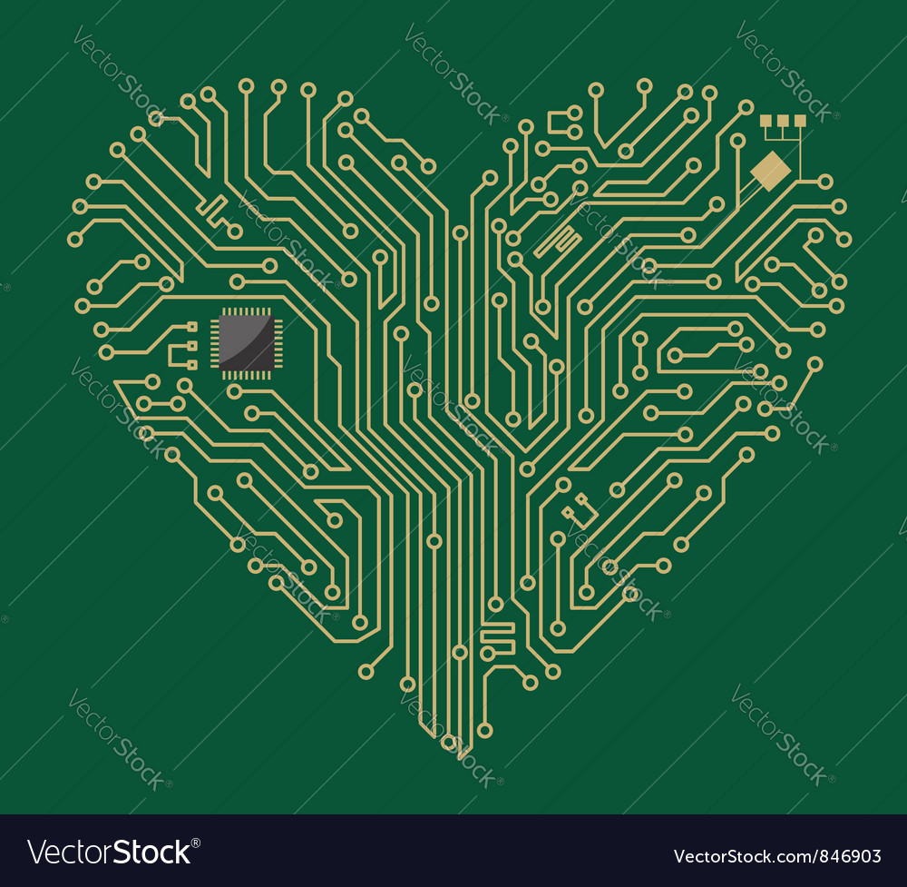 Motherboard computer heart vector