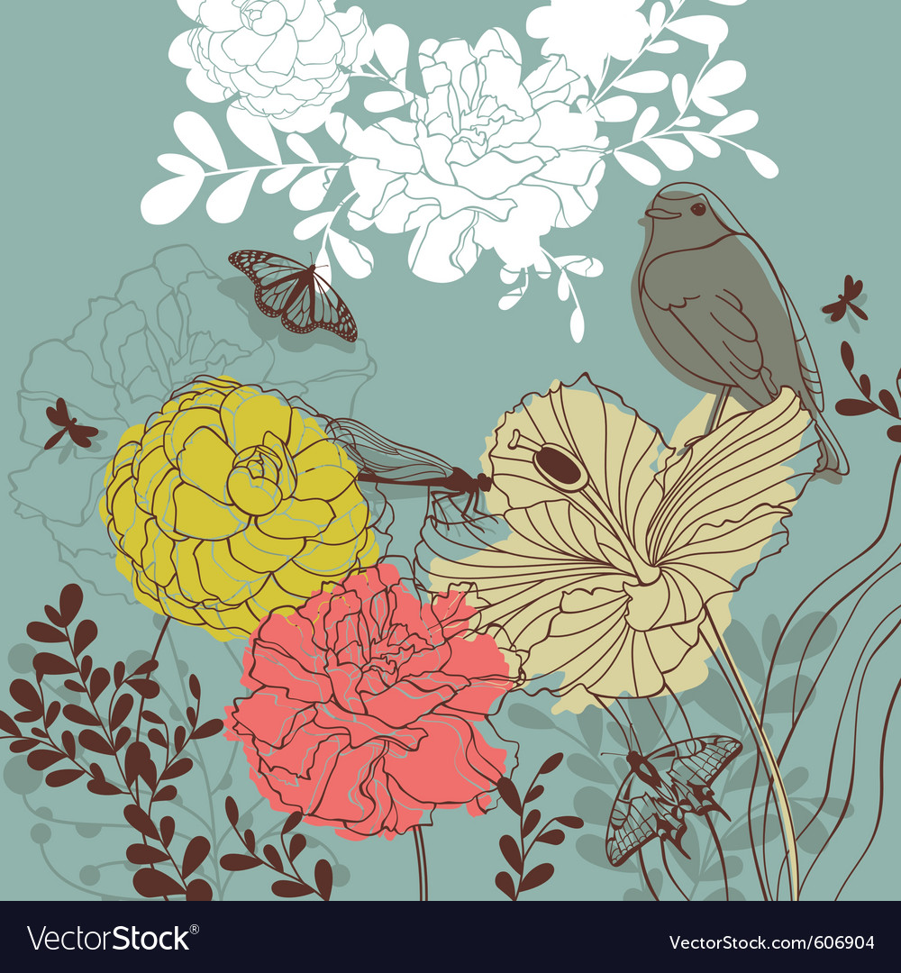 Lovely floral card vector