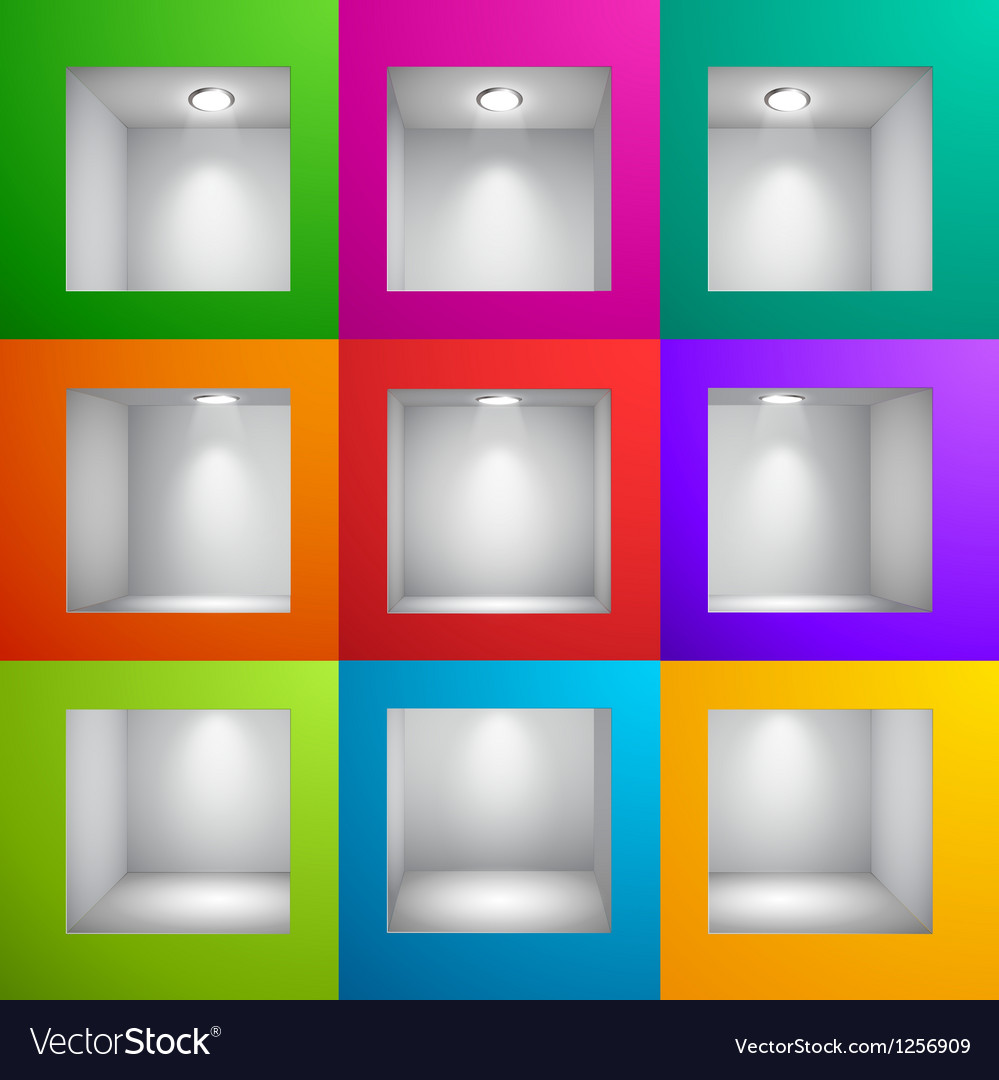 Wall shelf colored vector