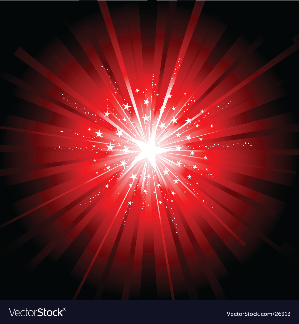 Red star burst vector