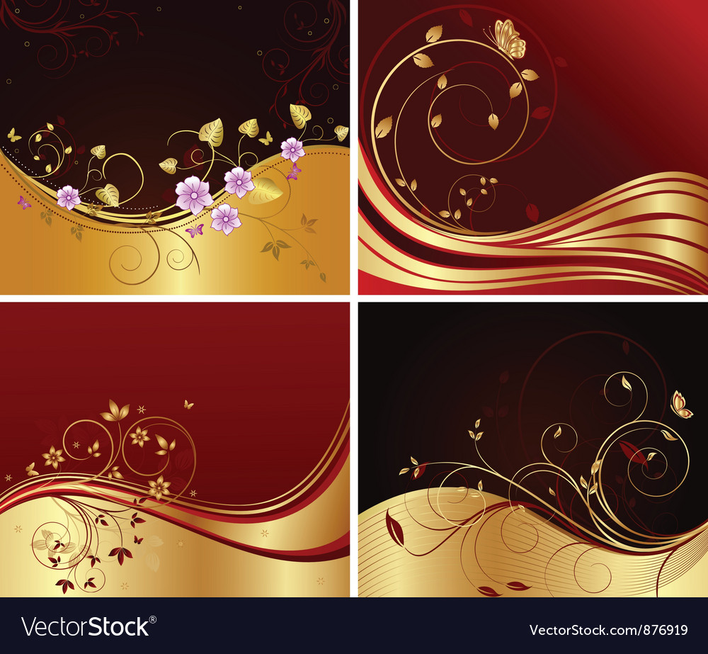 Floral background set vector