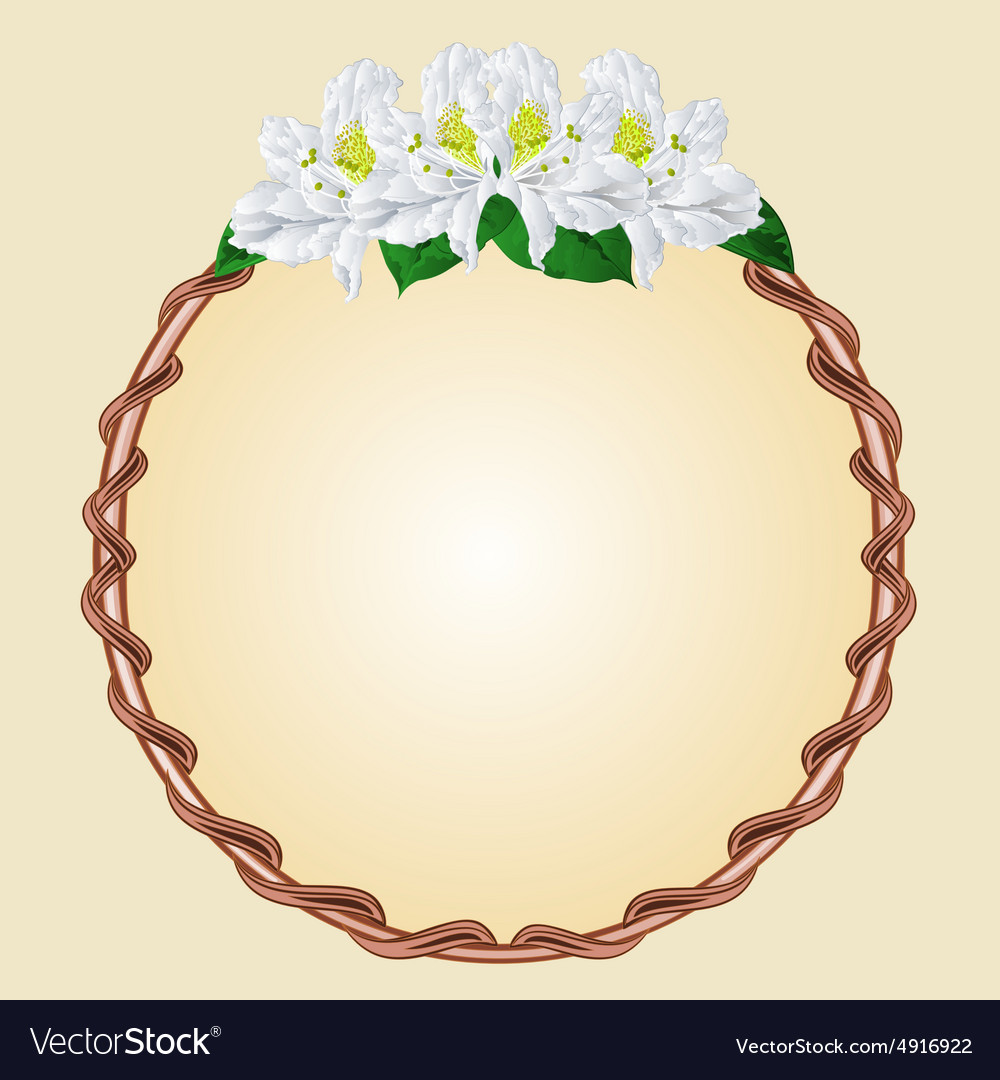 Round frame with white rhododendron greeting card