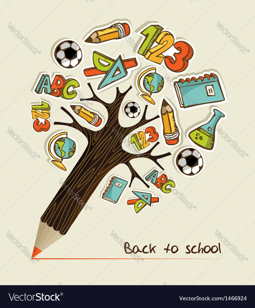 Back to school pencil tree vector