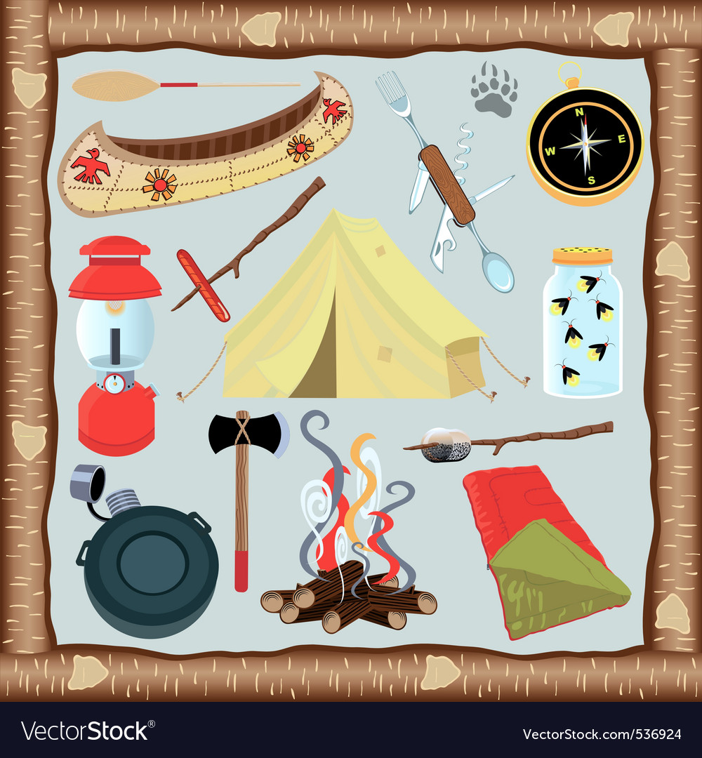Camping icons and elements vector