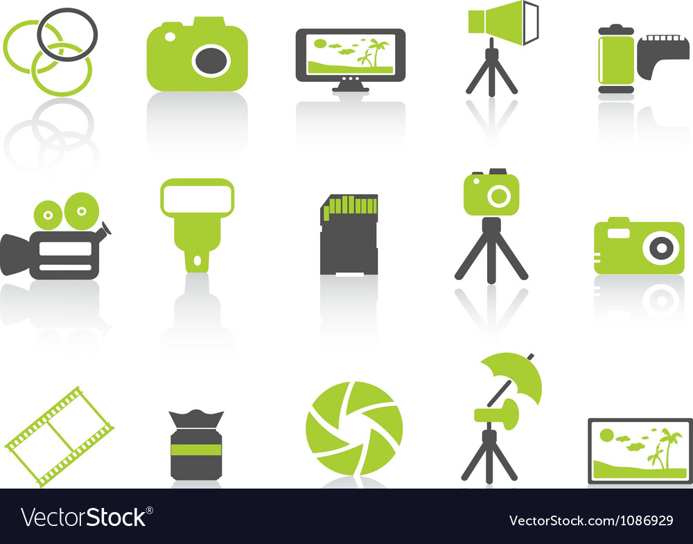 Photography element icongreen series vector