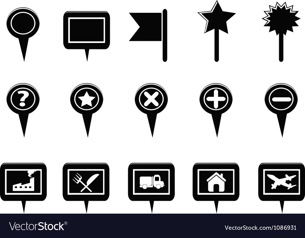 Black gps and map navigation markers vector
