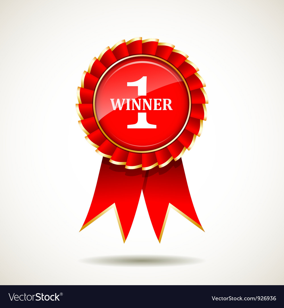 Red and gold the winner ribbon award vector
