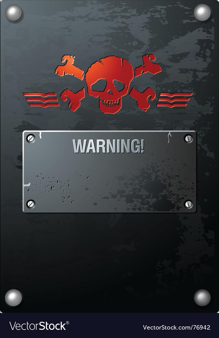 Skull on grungy metal vector